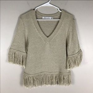 Bishop + young oatmeal fringe sweater